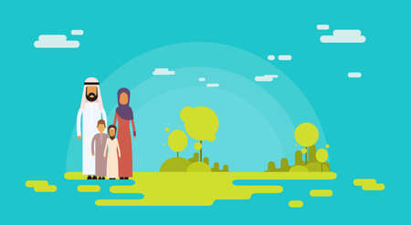 four people: Arab Family Four People, Arabic Parents Two Children Nature Background Flat Vector Illustration