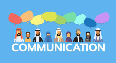 discussing: Muslim People Arab Crowd Man and Woman Talking Discussing Chat Bubble Communication Social Network Arabic Indian Characters Flat Vector Illustration