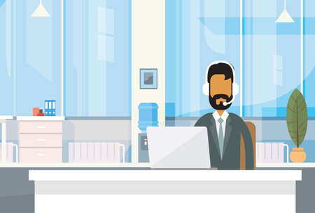 business centre: Support Indian Business Man Sitting Desk India Businessman Office Working Place Laptop Online Flat Vector Illustration
