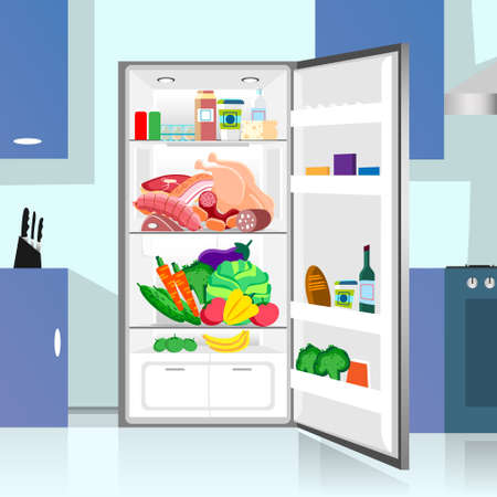 refrigerator kitchen: Opened Refrigerator Food Home Kitchen Interior Flat Vector Illustration