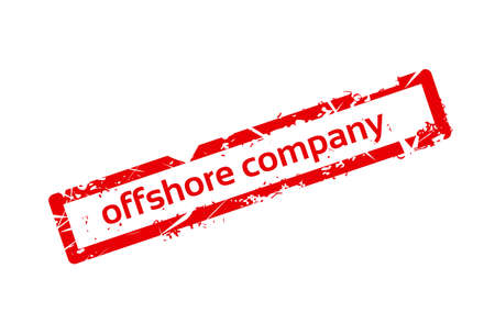 foreign country: Offshore Company Red Stamp Grunge Sign Vector Illustration