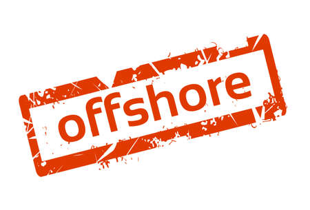 law of panama: Offshore Red Stamp Grunge Sign Vector Illustration