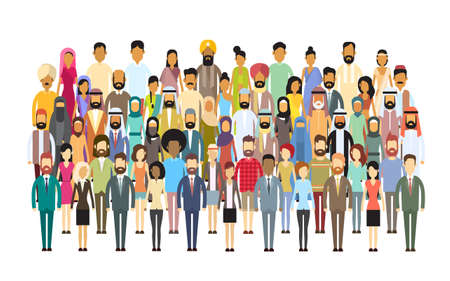 grupo de personas: Grupo de hombres de negocios enorme muchedumbre empresarios mezcla étnica diversa ilustración vectorial Flat