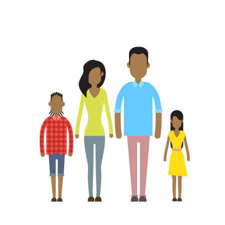 african american family: African American Happy Family Four People, Parents With Two Children Flat Vector Illustration