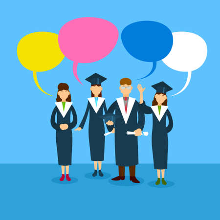 chat box: Student Group Graduation Gown With Chat Box Flat Vector Illustration