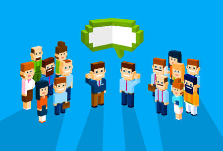 discussing: Business People Group Chat Communication Bubble Concept, Businesspeople Talking Discussing 3d Isometric Flat Design Vector Illustration