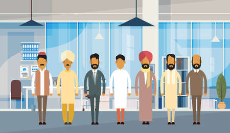 Indian People Businessman Group Traditional Clothes India Business Office Interior Flat Vector Illustration