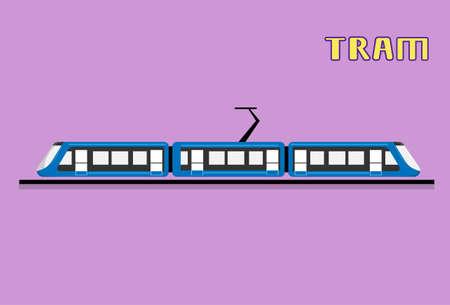 Tram Modern City Public Transport Flat Vector Illustration