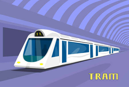 Subway Tram Modern City Public Transport Underground Rail Road Station Flat Vector Illustration Illustration