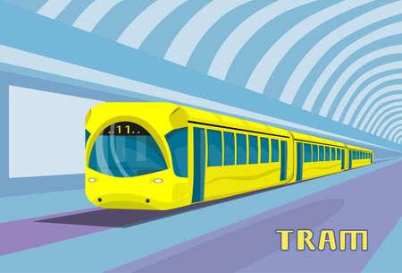Subway Tram Modern City Public Transport Underground Rail Road Station Flat Vector Illustration Ilustração