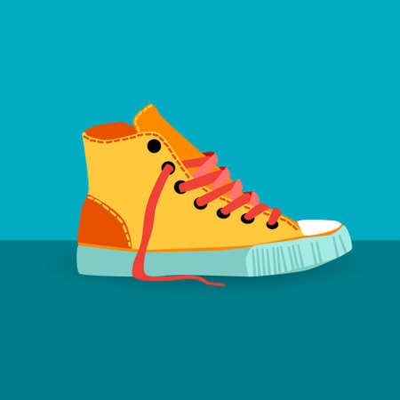 foot wear: Colorful Sneaker Training Shoe Foot Wear Icon Vector Illustration Illustration