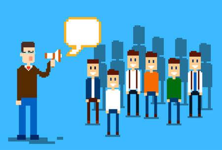 colleagues: Businessman Boss Hold Megaphone Loudspeaker Colleagues Business People Team Leader Group Businesspeople Vector Illustration Illustration