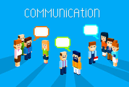 discussing: Business People Group Chat Communication Bubble Concept, Business People Talking Discussing 3d Isometric Flat Design Vector Illustration