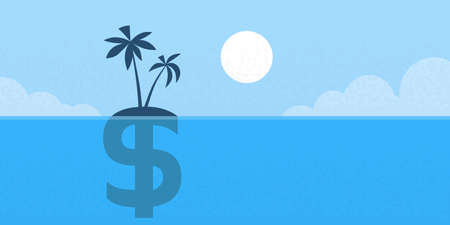 Dollar Sign Offshore Island Concept Flat Vector illustration
