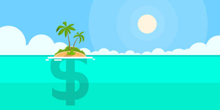 law of panama: Dollar Sign Offshore Island Concept Flat Vector illustration