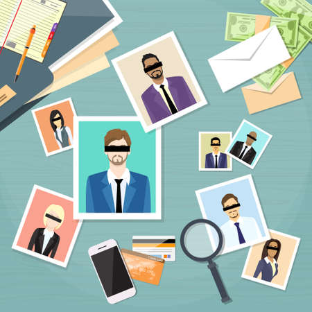 photo people: Offshore Papers Documents Company Business People Photo Owners Vector Illustration