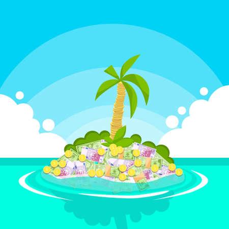 Treasure Tropical Island Dollar van het Geld Munten Palm Tree Flat Vector Illustration