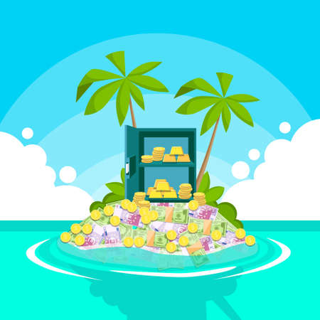 foreign country: Safe Full of Money Tropical Island Palm Tree Offshore Banking Concept Flat Vector Illustration