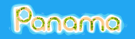 ocean view: Panama Offshore Island Top View Letters Shape Beach Palm Tree Ocean Concept Vector Illustration