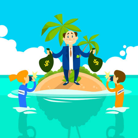 law of panama: Business Man Hold Money Bag Offshore Island, Press Reporters Taking Photo Vector Illustration