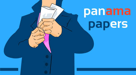 hide: Panama Papers Business Man Hide Private Document Suit Concept Offshore Company Information Vector Illustration Illustration