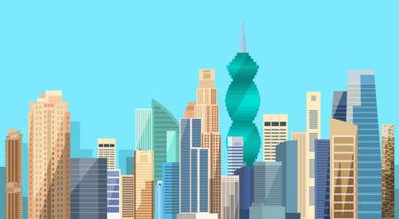 パナマ市高層ビル都市の景観背景スカイライン フラット ベクトル図