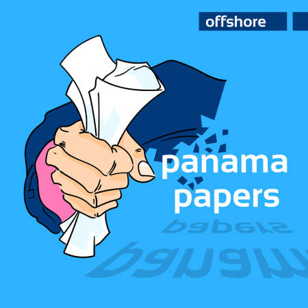 private information: Panama Papers Business Man Hold Private Document Suit Concept Offshore Company Owner Information Vector Illustration