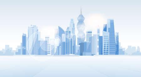 Antecedentes Ciudad de Panamá Rascacielos Vista del paisaje urbano de la silueta con la ilustración vectorial Espacio en blanco