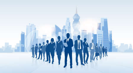 business group: Business People Group Panama City Silhouette Skyscraper Cityscape Background Skyline Vector Illustration