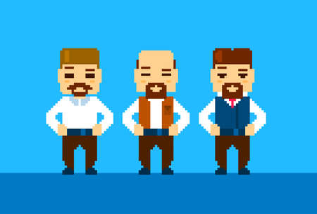 pixelated: Bearded Business Man Collection Pixelated Vector Illustration