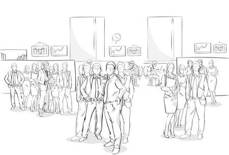 Schets Ondernemers Menigte Kantoor Interieur Zakelijke Team Hand Getrokken Mensen Vectorillustratie Stock Illustratie