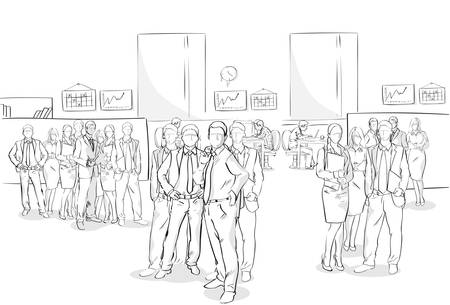 Sketch Businesspeople Crowd Office Interior Business Team Hand Drawn People Vector Illustration