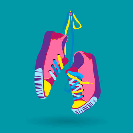 foot wear: Colorful Sneaker Pair Hang On Lace Training Shoe Foot Wear Icon Vector Illustration Illustration