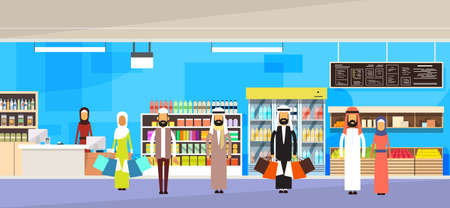 mall interior: Arab People Group With Bags Big Shop Super Market Shopping Mall Interior Muslim Customers Stand In Line Flat Vector Illustration