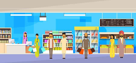 super market: Indian People Group With Bags Big Shop Super Market Shopping Mall Interior India Customers Stand In Line Flat Vector Illustration Illustration