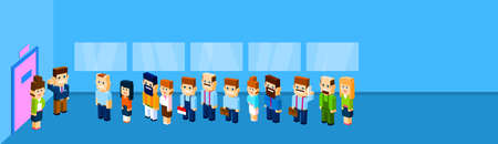 waiting line: Business People Group Crowd Stand In Line To Door Office Waiting 3d Isometric Flat Design Vector Illustration Illustration