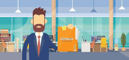 Zaken man houdt Panama Papers Folder Office Interior Flat Vector Illustration