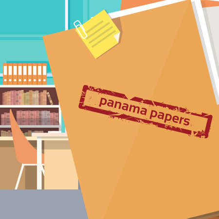 folder with documents: Panama Papers Folder Secret Document Offshore Company Business Owners Office Vector Illustration Illustration
