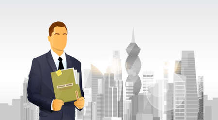 Business Man Hold Panama Papers Offshore Company Folder Over City Skyscraper Flat Vector Illustration