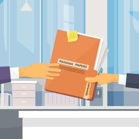 Handen Geef Panama Papers Folder Secret Document Offshore Bedrijfsnaam Mensen Owners Office Vector Illustration