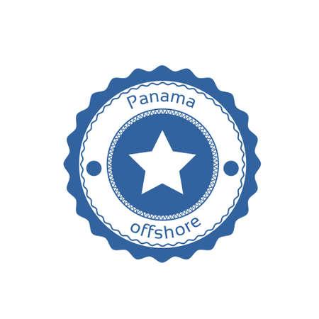 bandera panama: Offshore Panama Flag Circle Stamp Sign Vector Illustration Vectores