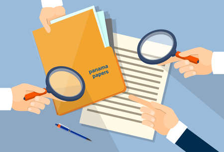 folder with documents: Business Hand Hold Magnifying Glass Offshore Panama Papers Folder Documents Office Desk Vector Illustration