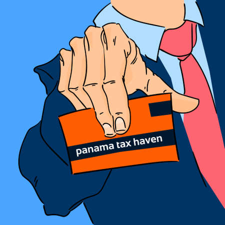 financial adviser: Business Man Hand Hold Card Panama Papers Offshore Company Vector Illustration