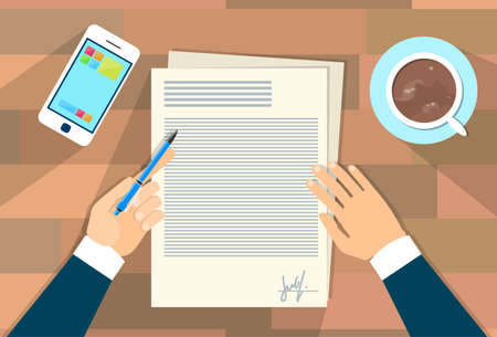 signing document: Business Man Document Signing Up Contract Agreement, Businessman Write Office Desk Wooden Texture Flat Vector Illustration Illustration