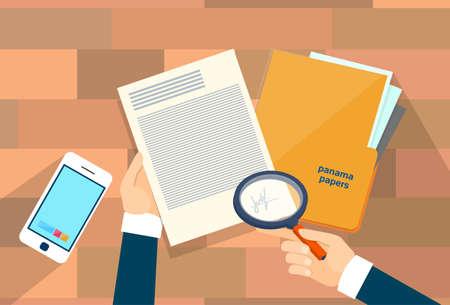 Business-Hand halten Lupe Offshore Panama-Papiere Ordner Dokumente Büro-Schreibtisch-Vektor-Illustration