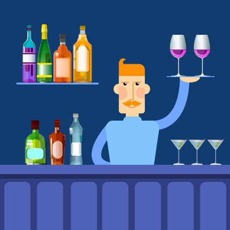 barmen: Bar Counter Barmen Hold Tray With Wine Glasses Alcohol Drink Bottle Set Collection Flat Vector Illustration