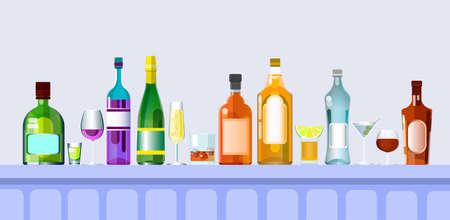 bar counter: Bar Counter With Alcohol Drink Glasses, Bottle Set Collection Flat Vector Illustration Illustration
