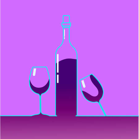 toasting wine: Red Wine Bottle With Glasses Alcohol Drink Icon Flat Vector Illustration