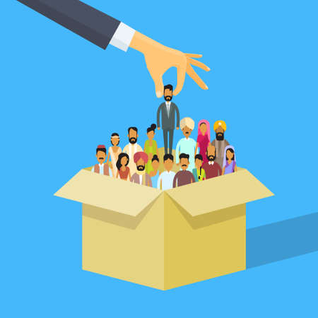 asian manager: Indian Recruitment Hand Picking Business Person Candidate Box India People Crowd Man Woman Human Resources Flat Vector Illustration Illustration