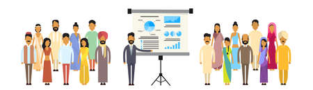colleagues: Indian Business People Group Presentation Flip Chart Finance, India Businesspeople Team Training Conference Meeting Flat Vector Illustration